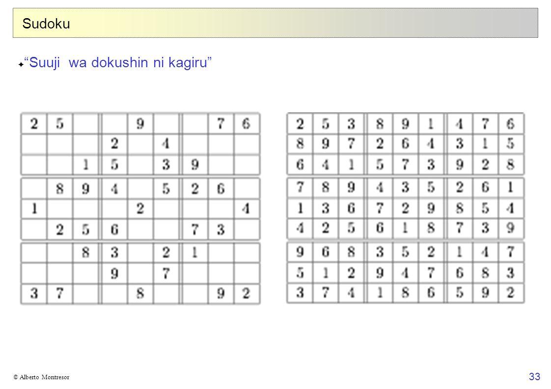 33 © Alberto Montresor Sudoku Suuji wa dokushin ni kagiru