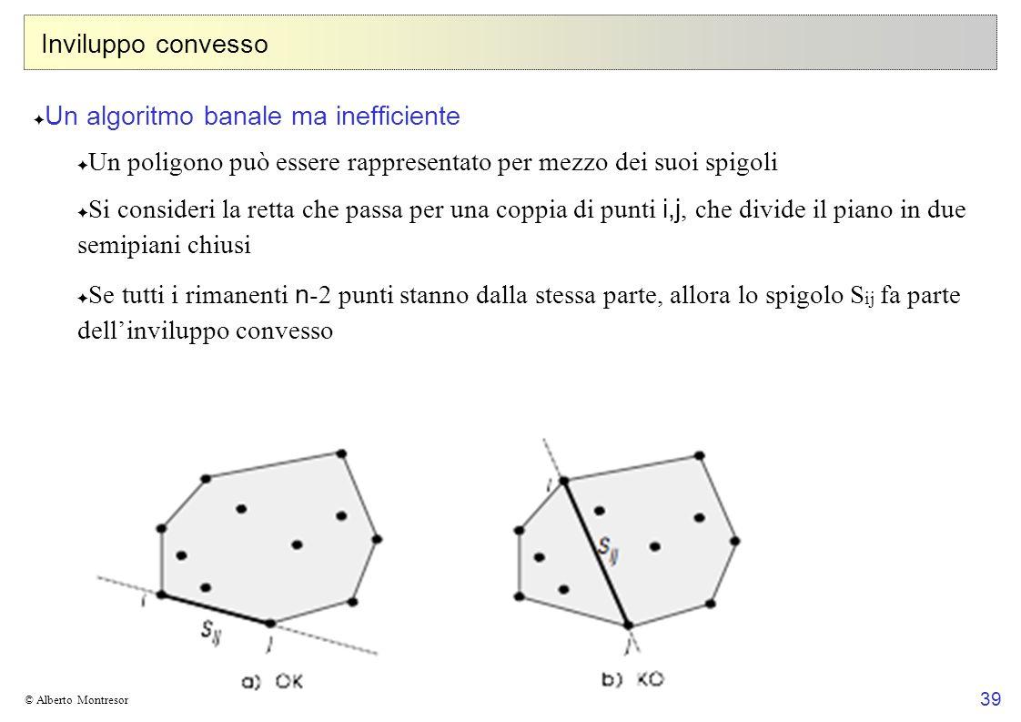 39 © Alberto Montresor Inviluppo convesso Un algoritmo banale ma inefficiente Un poligono può essere rappresentato per mezzo dei suoi spigoli Si consi