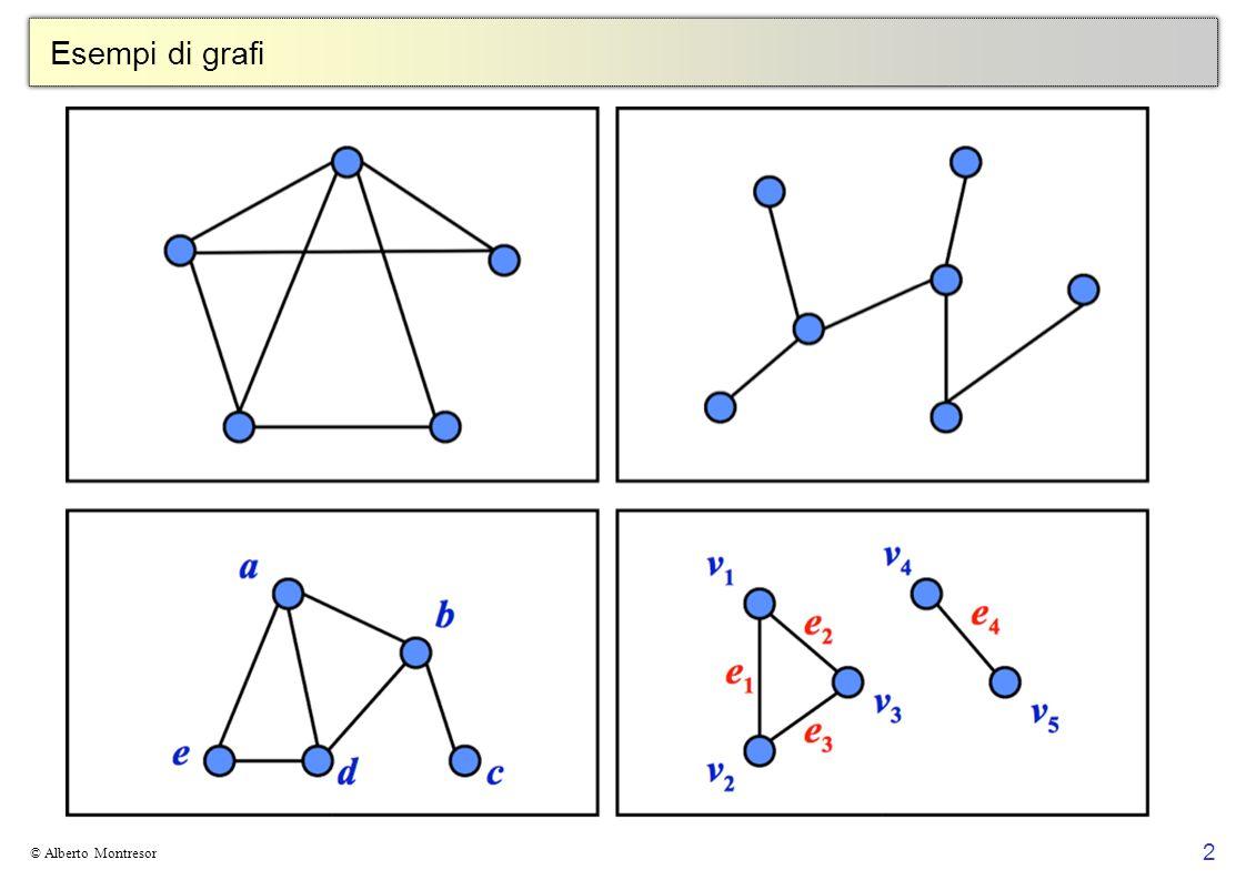 13 © Alberto Montresor Definizioni: Grado In un grafo non orientato il grado di un vertice è il numero di archi che partono da esso In un grafo orientato il grado entrante ( uscente ) di un vertice è il numero di archi incidenti in (da) esso 2 3 5 4 A 6 1 1 2 3 5 4 6 2 3 2 3 2 0 in : 2 out: 2 in : 0 out: 0 in : 2 out: 1 in : 1 out: 1 in : 2 out: 1 in : 1 out: 1