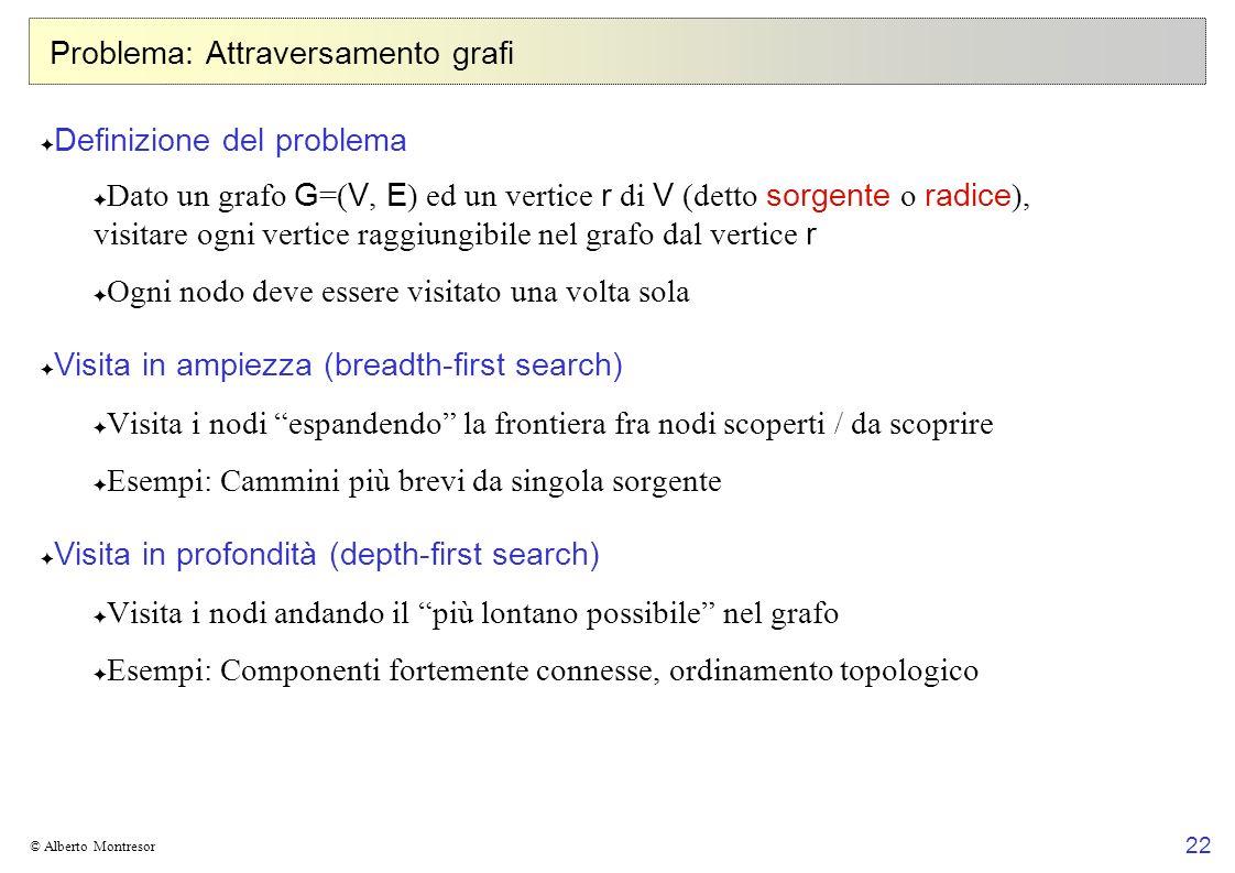 22 © Alberto Montresor Problema: Attraversamento grafi Definizione del problema Dato un grafo G =( V, E ) ed un vertice r di V (detto sorgente o radic