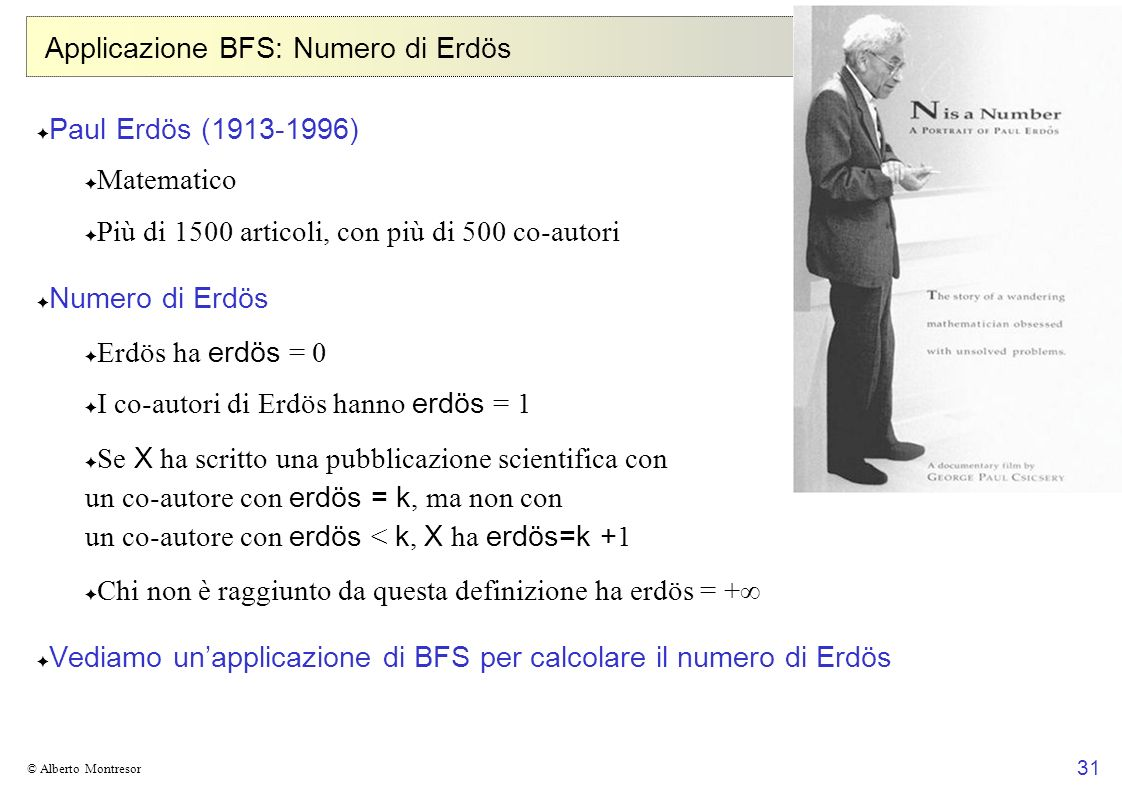 31 © Alberto Montresor Applicazione BFS: Numero di Erdös Paul Erdös (1913-1996) Matematico Più di 1500 articoli, con più di 500 co-autori Numero di Er