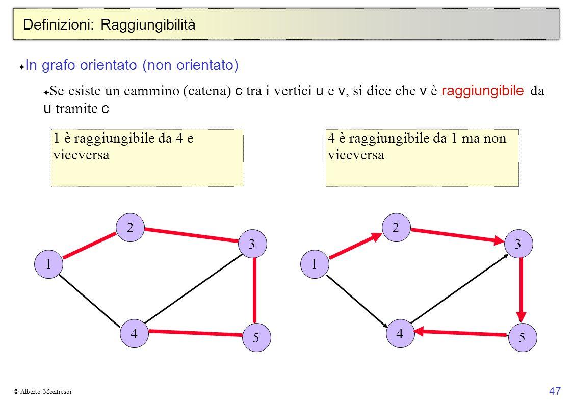 47 © Alberto Montresor Definizioni: Raggiungibilità In grafo orientato (non orientato) Se esiste un cammino (catena) c tra i vertici u e v, si dice ch