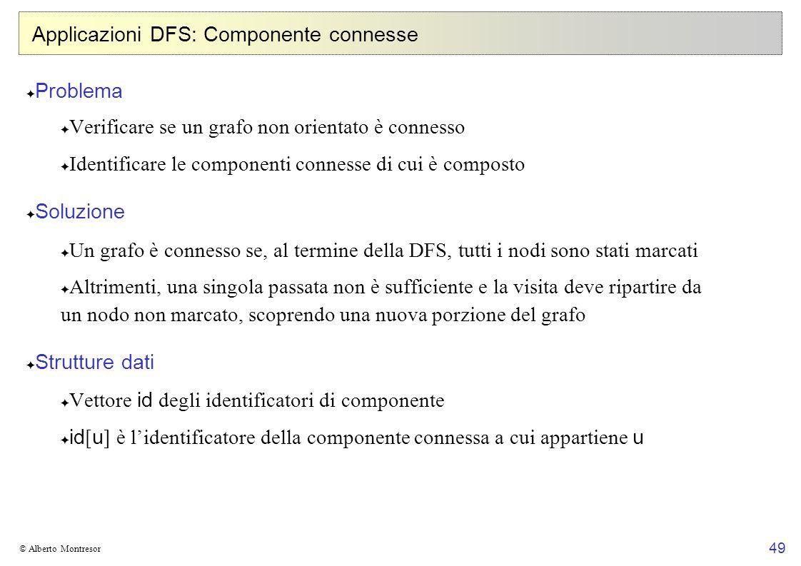 49 © Alberto Montresor Applicazioni DFS: Componente connesse Problema Verificare se un grafo non orientato è connesso Identificare le componenti conne