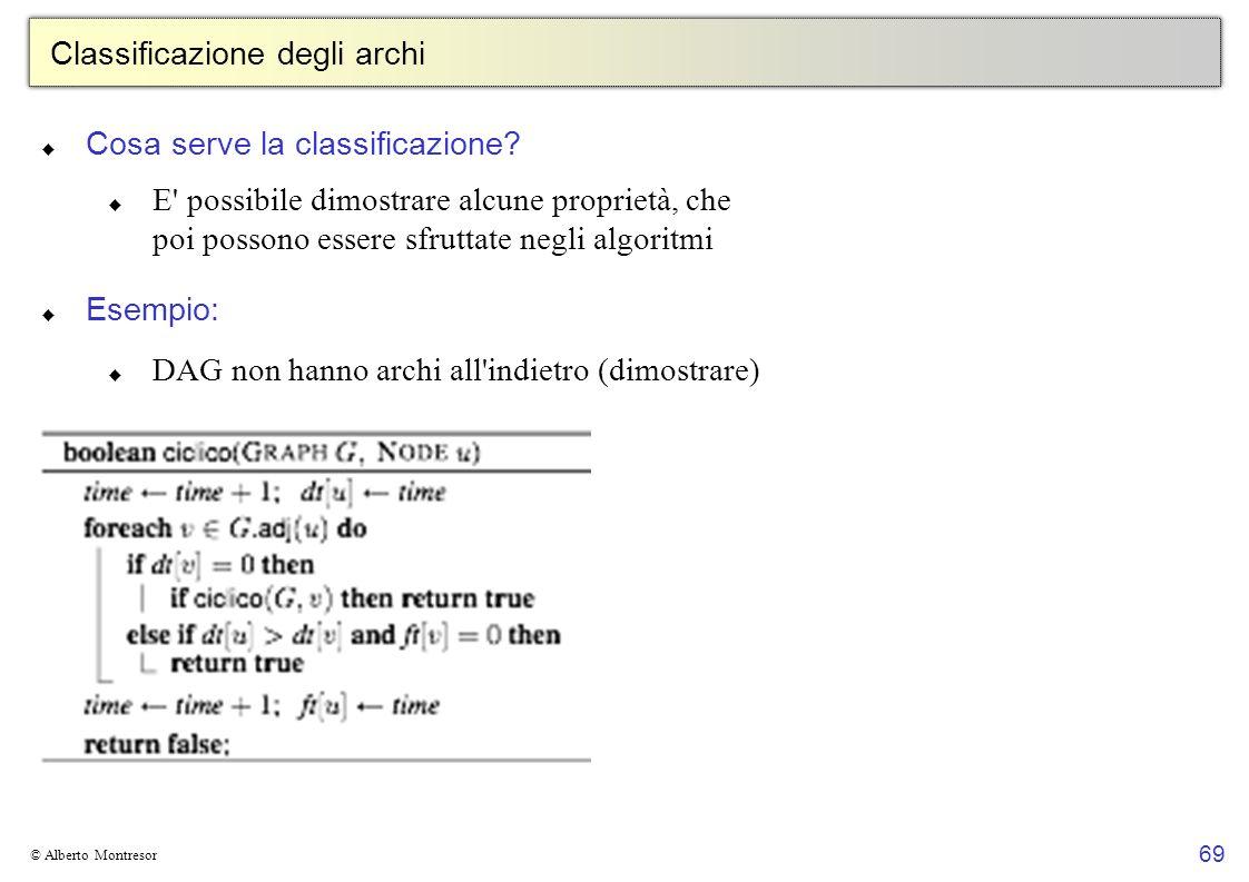 69 © Alberto Montresor Classificazione degli archi Cosa serve la classificazione? E' possibile dimostrare alcune proprietà, che poi possono essere sfr