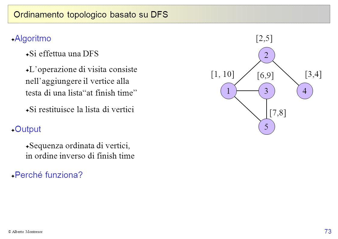 73 © Alberto Montresor Ordinamento topologico basato su DFS Algoritmo Si effettua una DFS Loperazione di visita consiste nellaggiungere il vertice all
