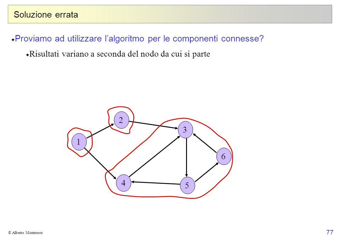 77 © Alberto Montresor Soluzione errata Proviamo ad utilizzare lalgoritmo per le componenti connesse? Risultati variano a seconda del nodo da cui si p