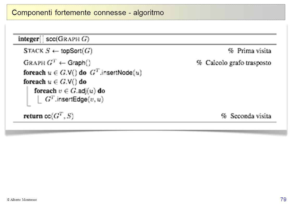 79 © Alberto Montresor Componenti fortemente connesse - algoritmo