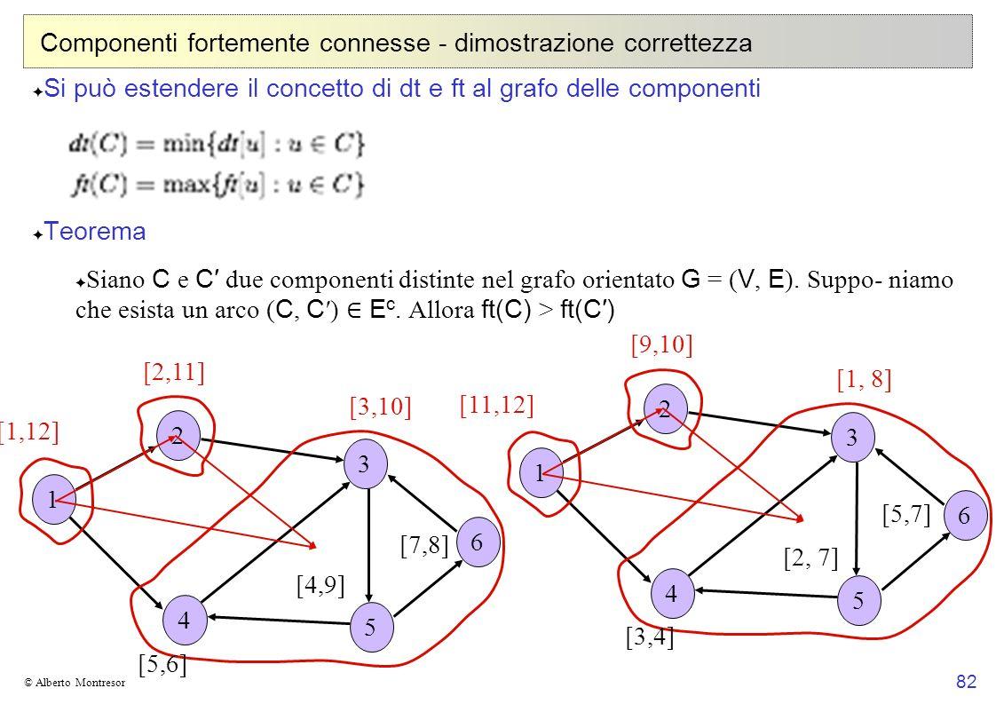 82 © Alberto Montresor Componenti fortemente connesse - dimostrazione correttezza Si può estendere il concetto di dt e ft al grafo delle componenti Te