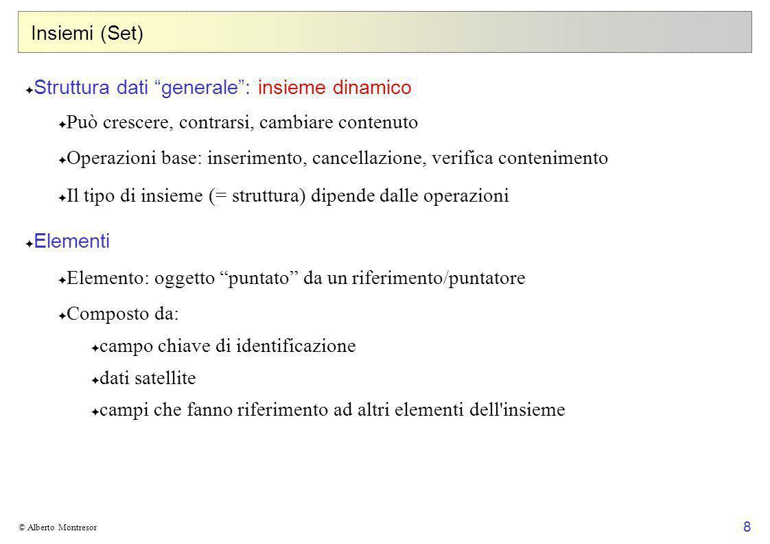 8 © Alberto Montresor Insiemi (Set) Struttura dati generale: insieme dinamico Può crescere, contrarsi, cambiare contenuto Operazioni base: inserimento