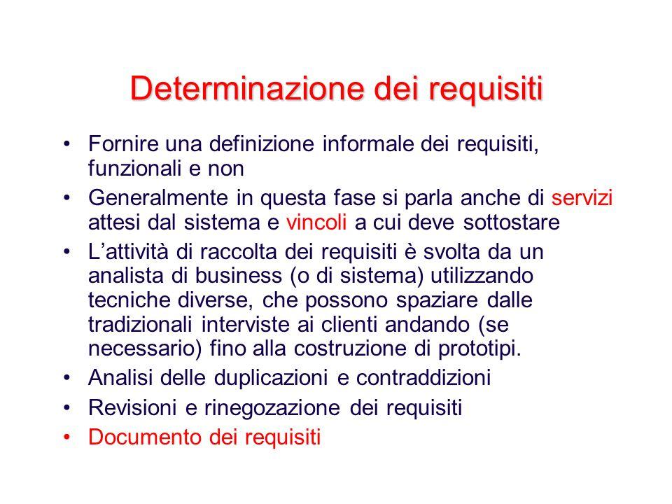 Determinazione dei requisiti Fornire una definizione informale dei requisiti, funzionali e non Generalmente in questa fase si parla anche di servizi a