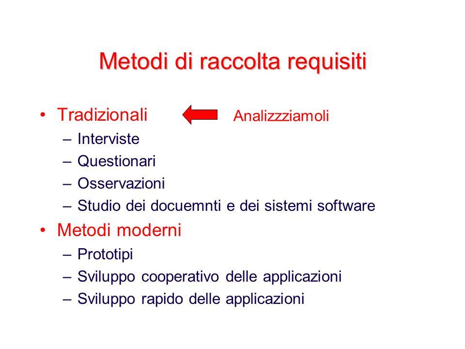 Metodi di raccolta requisiti Tradizionali –Interviste –Questionari –Osservazioni –Studio dei docuemnti e dei sistemi software Metodi moderni –Prototip