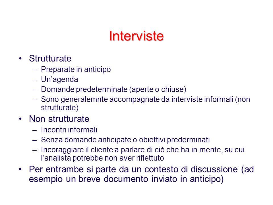 Interviste Strutturate –Preparate in anticipo –Unagenda –Domande predeterminate (aperte o chiuse) –Sono generalemnte accompagnate da interviste inform