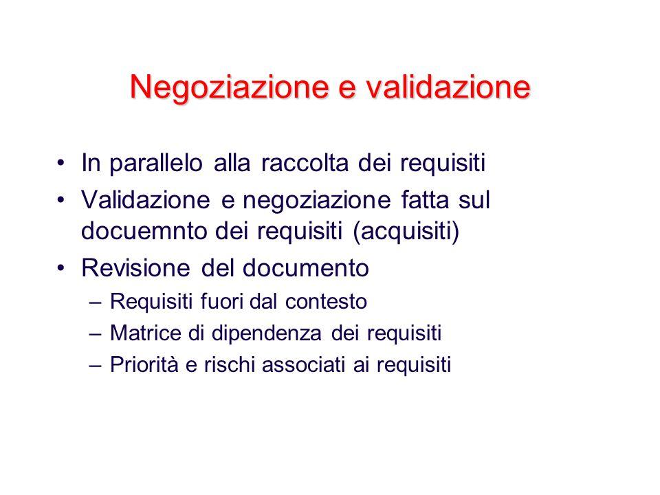 Negoziazione e validazione In parallelo alla raccolta dei requisiti Validazione e negoziazione fatta sul docuemnto dei requisiti (acquisiti) Revisione