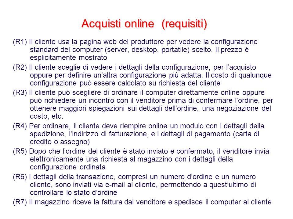 Acquisti online (requisiti) (R1) Il cliente usa la pagina web del produttore per vedere la configurazione standard del computer (server, desktop, port