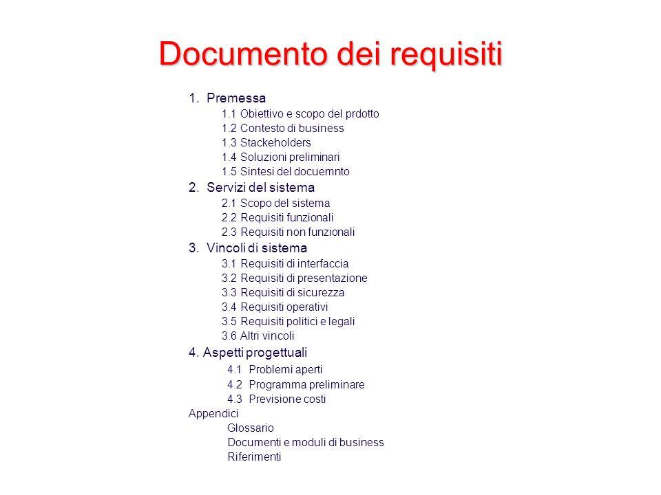 Documento dei requisiti 1. Premessa 1.1 Obiettivo e scopo del prdotto 1.2 Contesto di business 1.3 Stackeholders 1.4 Soluzioni preliminari 1.5 Sintesi