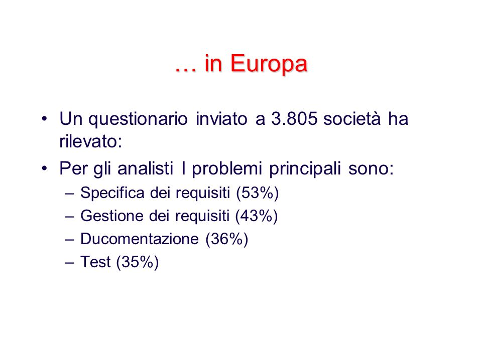… in Europa Un questionario inviato a 3.805 società ha rilevato: Per gli analisti I problemi principali sono: –Specifica dei requisiti (53%) –Gestione
