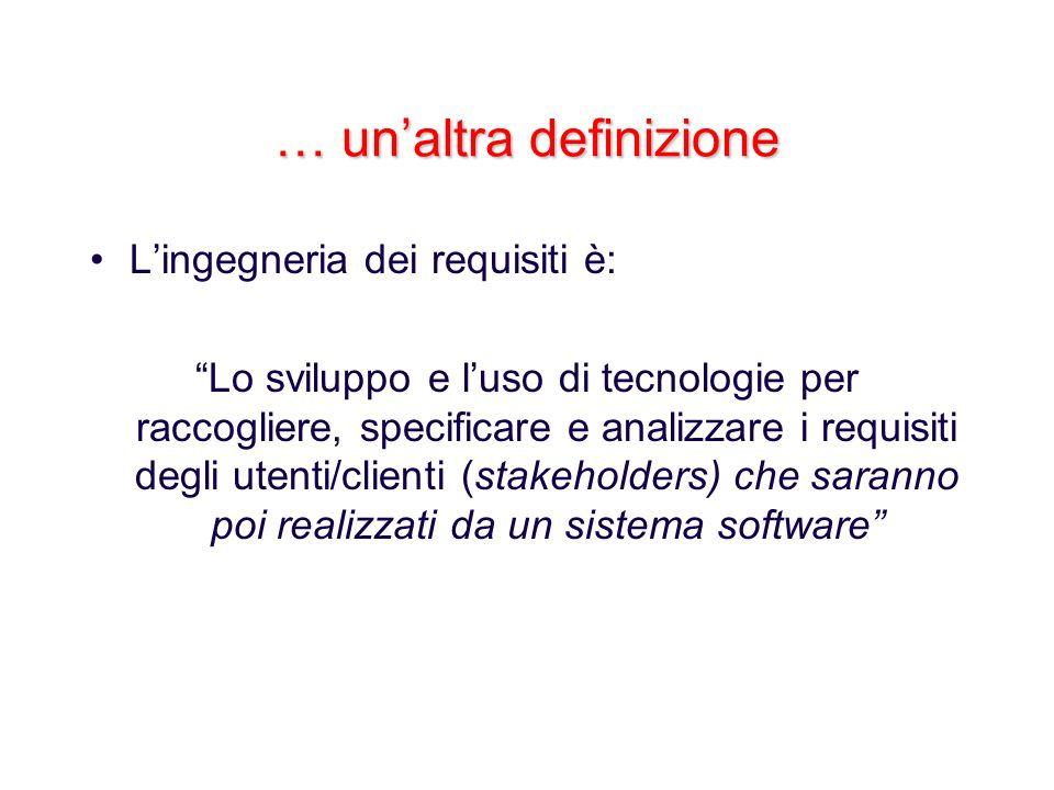 … unaltra definizione Lingegneria dei requisiti è: Lo sviluppo e luso di tecnologie per raccogliere, specificare e analizzare i requisiti degli utenti
