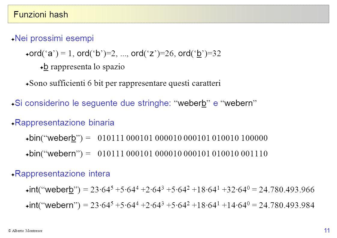 11 © Alberto Montresor Funzioni hash Nei prossimi esempi ord ( a ) = 1, ord ( b )=2,..., ord ( z )=26, ord ( b )=32 b rappresenta lo spazio Sono sufficienti 6 bit per rappresentare questi caratteri Si considerino le seguente due stringhe: weberb e webern Rappresentazione binaria bin ( weberb ) = 010111 000101 000010 000101 010010 100000 bin ( webern ) = 010111 000101 000010 000101 010010 001110 Rappresentazione intera int ( weberb ) = 23·64 5 +5·64 4 +2·64 3 +5·64 2 +18·64 1 +32·64 0 = 24.780.493.966 int ( webern ) = 23·64 5 +5·64 4 +2·64 3 +5·64 2 +18·64 1 +14·64 0 = 24.780.493.984 11