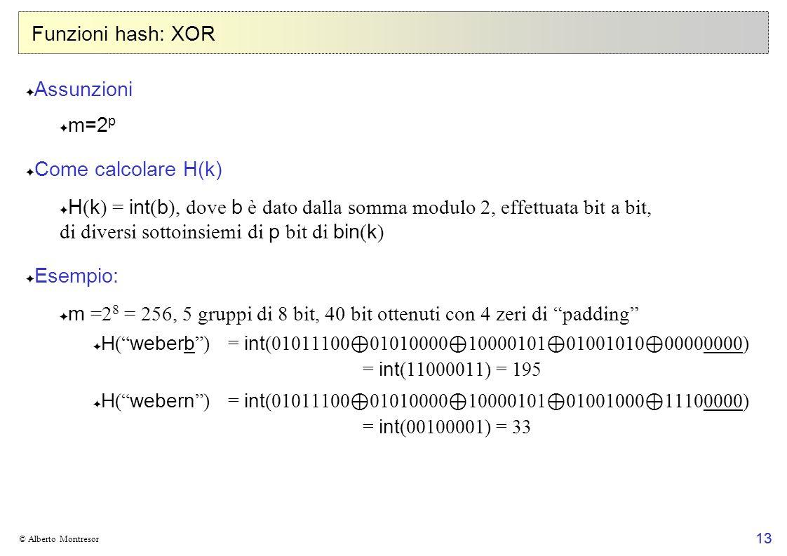 13 © Alberto Montresor Funzioni hash: XOR Assunzioni m=2 p Come calcolare H(k) H ( k ) = int ( b ), dove b è dato dalla somma modulo 2, effettuata bit a bit, di diversi sottoinsiemi di p bit di bin ( k ) Esempio: m =2 8 = 256, 5 gruppi di 8 bit, 40 bit ottenuti con 4 zeri di padding H ( weberb )= int (01011100 01010000 10000101 01001010 00000000) = int (11000011) = 195 H ( webern )= int (01011100 01010000 10000101 01001000 11100000) = int (00100001) = 33 13