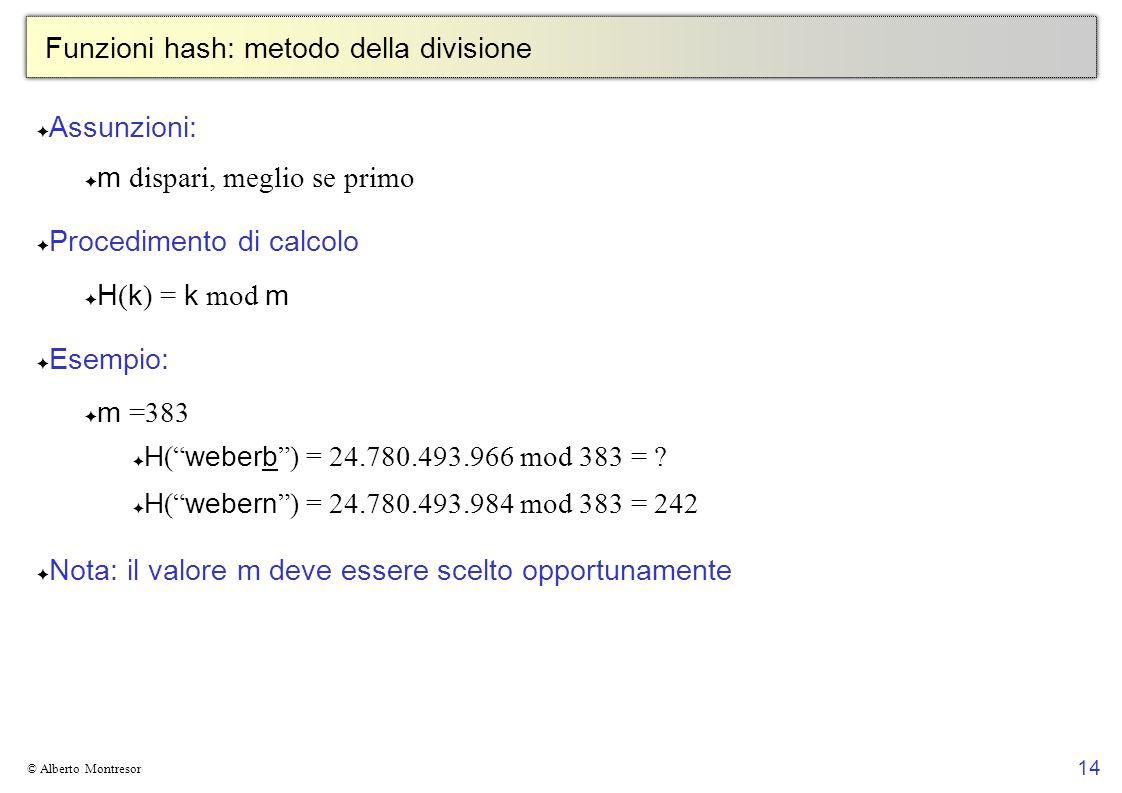 14 © Alberto Montresor Funzioni hash: metodo della divisione Assunzioni: m dispari, meglio se primo Procedimento di calcolo H ( k ) = k mod m Esempio: m =383 H ( weberb ) = 24.780.493.966 mod 383 = .