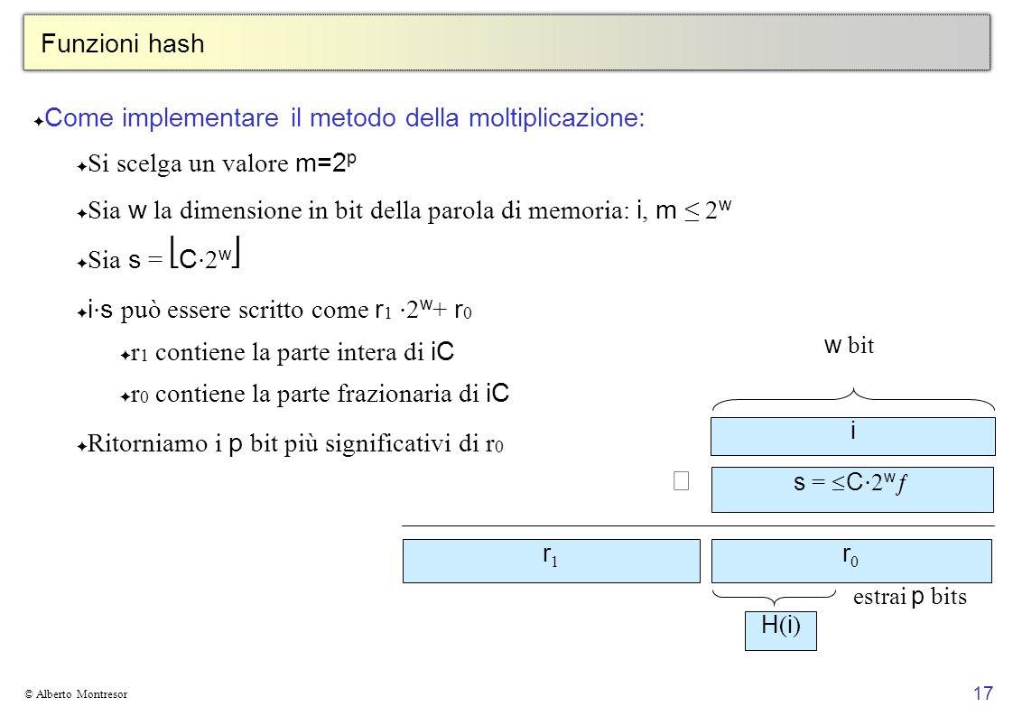 17 © Alberto Montresor Funzioni hash Come implementare il metodo della moltiplicazione: Si scelga un valore m=2 p Sia w la dimensione in bit della parola di memoria: i, m 2 w Sia s = C 2 w i s può essere scritto come r 1 2 w + r 0 r 1 contiene la parte intera di iC r 0 contiene la parte frazionaria di iC Ritorniamo i p bit più significativi di r 0 i s = C 2 w r0r0 r1r1 w bit H(i)H(i) estrai p bits