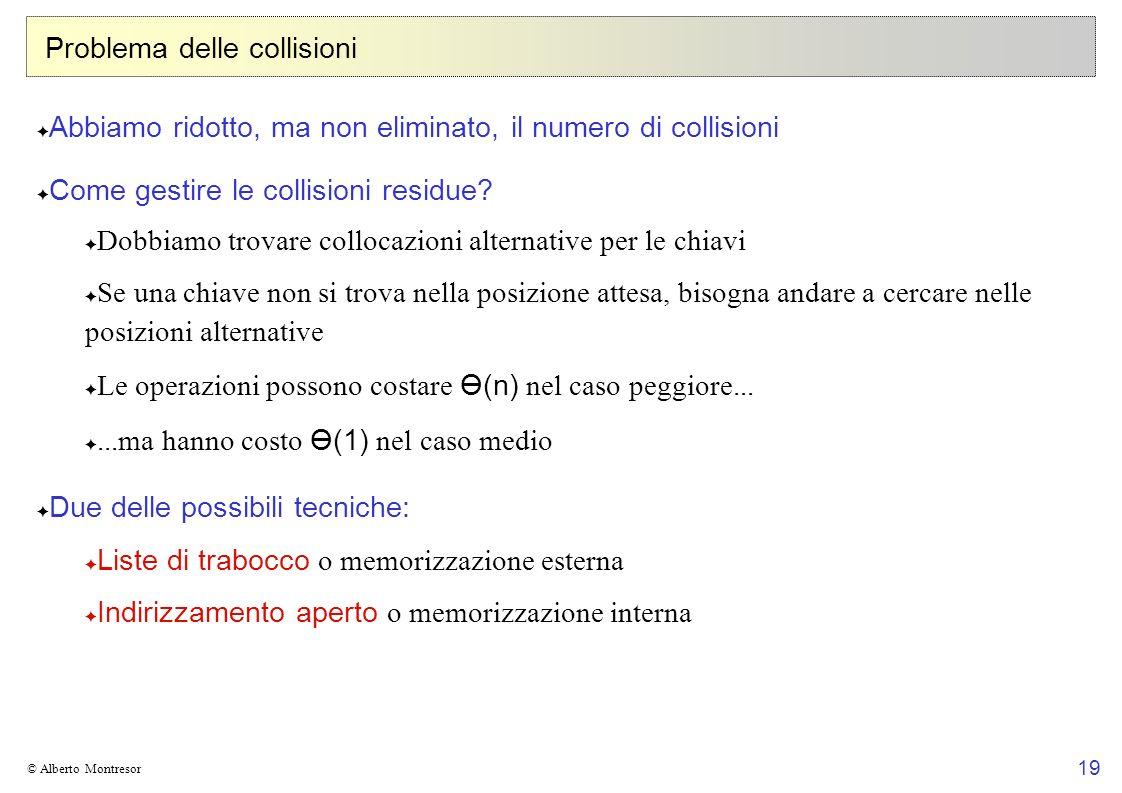 19 © Alberto Montresor Problema delle collisioni Abbiamo ridotto, ma non eliminato, il numero di collisioni Come gestire le collisioni residue? Dobbia