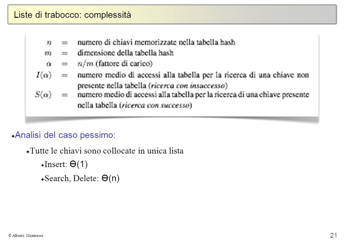 21 © Alberto Montresor Liste di trabocco: complessità Analisi del caso pessimo: Tutte le chiavi sono collocate in unica lista Insert: Ө(1) Search, Del