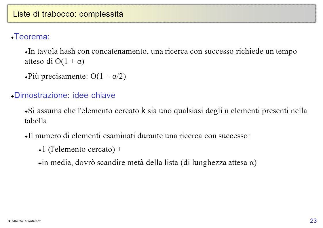 23 © Alberto Montresor Liste di trabocco: complessità Teorema: In tavola hash con concatenamento, una ricerca con successo richiede un tempo atteso di