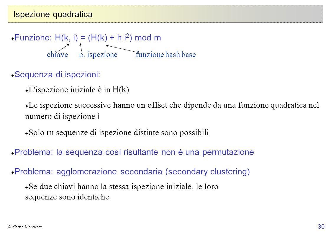 30 © Alberto Montresor Ispezione quadratica Funzione: H(k, i) = (H(k) + h i 2 ) mod m Sequenza di ispezioni: L ispezione iniziale è in H ( k ) Le ispezione successive hanno un offset che dipende da una funzione quadratica nel numero di ispezione i Solo m sequenze di ispezione distinte sono possibili Problema: la sequenza così risultante non è una permutazione Problema: agglomerazione secondaria (secondary clustering) Se due chiavi hanno la stessa ispezione iniziale, le loro sequenze sono identiche chiaven.