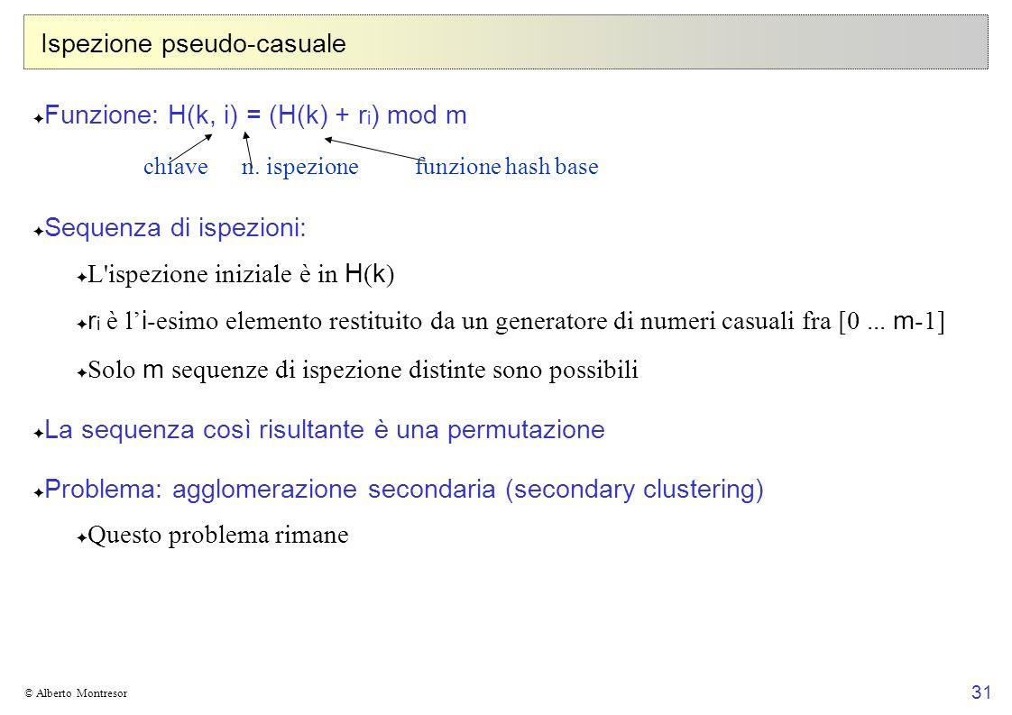 31 © Alberto Montresor Ispezione pseudo-casuale Funzione: H(k, i) = (H(k) + r i ) mod m Sequenza di ispezioni: L ispezione iniziale è in H ( k ) r i è l i -esimo elemento restituito da un generatore di numeri casuali fra [0...