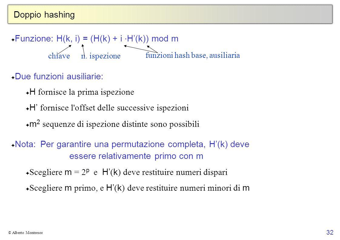 32 © Alberto Montresor Doppio hashing Funzione: H(k, i) = (H(k) + i H(k)) mod m Due funzioni ausiliarie: H fornisce la prima ispezione H fornisce l'of