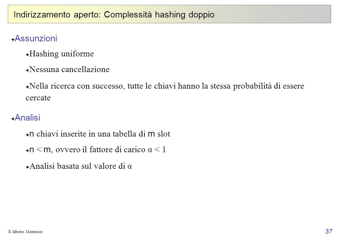 37 © Alberto Montresor Indirizzamento aperto: Complessità hashing doppio Assunzioni Hashing uniforme Nessuna cancellazione Nella ricerca con successo,