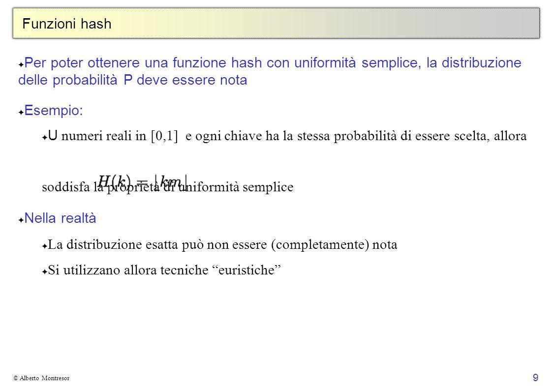 9 © Alberto Montresor Funzioni hash Per poter ottenere una funzione hash con uniformità semplice, la distribuzione delle probabilità P deve essere not