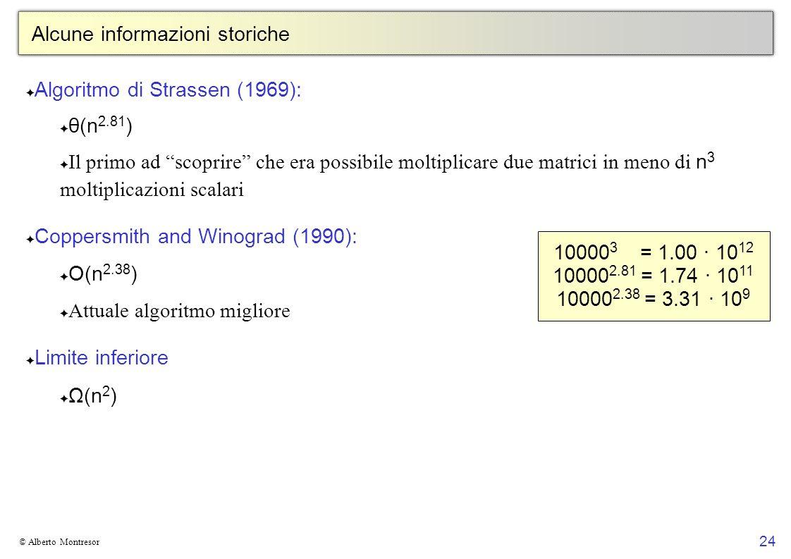 24 © Alberto Montresor Alcune informazioni storiche Algoritmo di Strassen (1969): θ(n 2.81 ) Il primo ad scoprire che era possibile moltiplicare due m