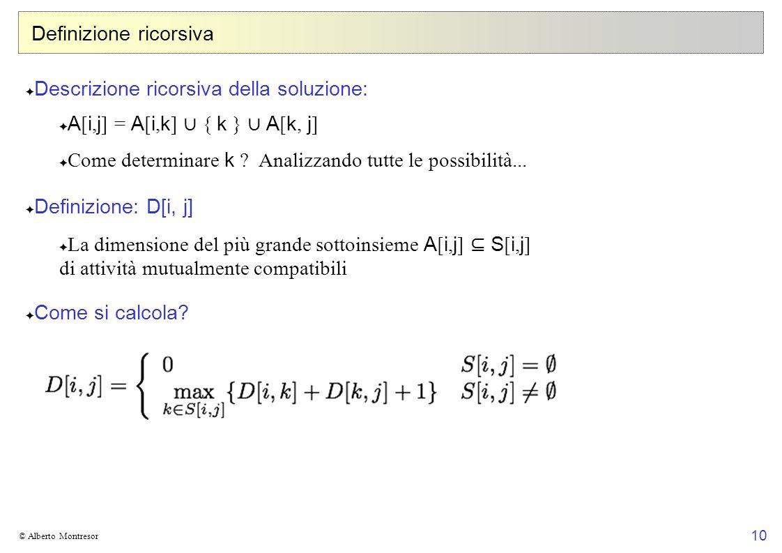 10 © Alberto Montresor Definizione ricorsiva Descrizione ricorsiva della soluzione: A [ i, j ] = A [ i, k ] { k } A [ k, j ] Come determinare k .