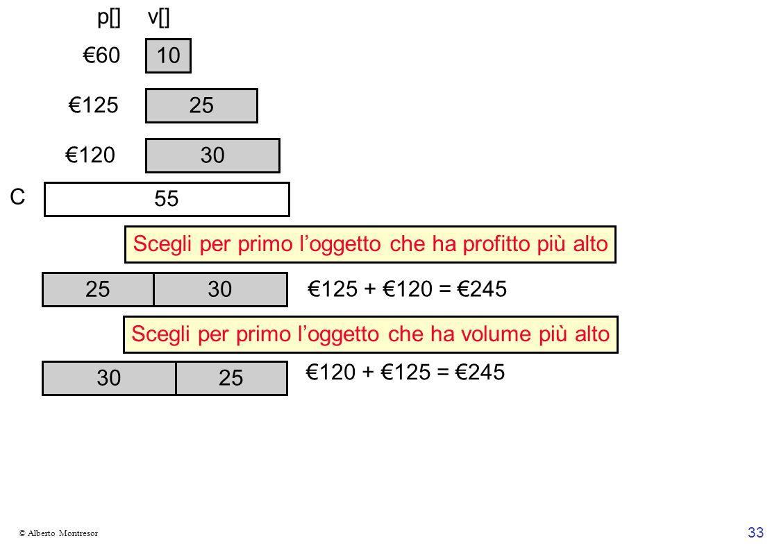 33 © Alberto Montresor 30 10 25 125 60 120 30 25 30 125 + 120 = 245 55 120 + 125 = 245 Scegli per primo loggetto che ha profitto più alto Scegli per primo loggetto che ha volume più alto p[]v[] C