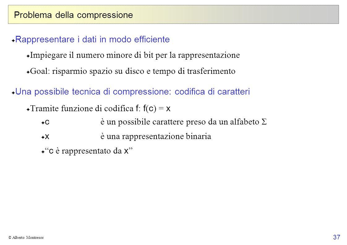 37 © Alberto Montresor Problema della compressione Rappresentare i dati in modo efficiente Impiegare il numero minore di bit per la rappresentazione G