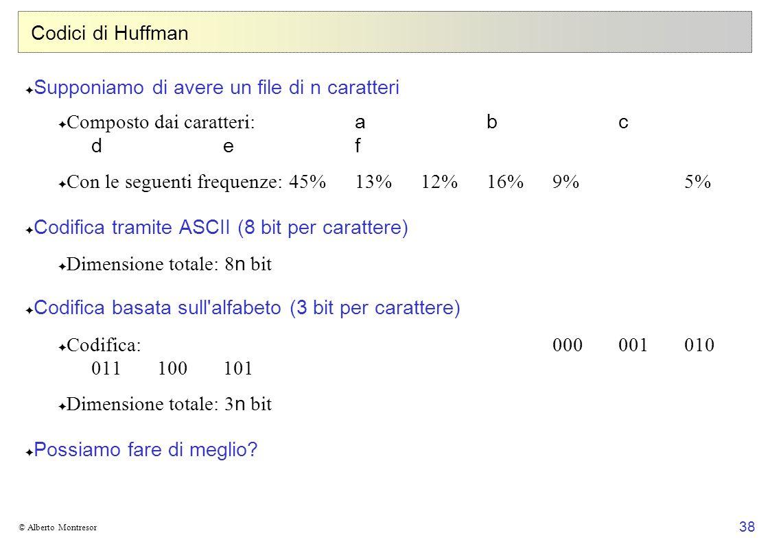 38 © Alberto Montresor Codici di Huffman Supponiamo di avere un file di n caratteri Composto dai caratteri: abc d ef Con le seguenti frequenze:45%13%12%16%9%5% Codifica tramite ASCII (8 bit per carattere) Dimensione totale: 8 n bit Codifica basata sull alfabeto (3 bit per carattere) Codifica:000001010 011100101 Dimensione totale: 3 n bit Possiamo fare di meglio?