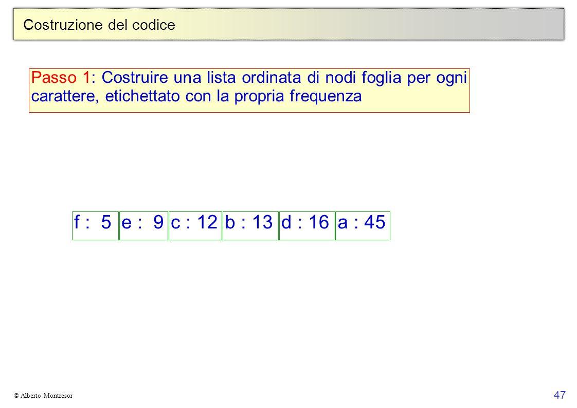 47 © Alberto Montresor Costruzione del codice f : 5e : 9c : 12b : 13d : 16a : 45 Passo 1: Costruire una lista ordinata di nodi foglia per ogni caratte