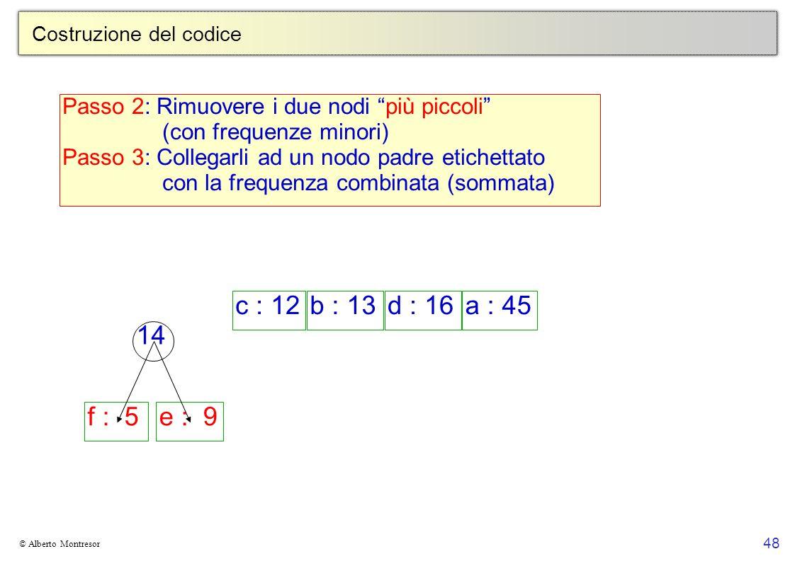 48 © Alberto Montresor Costruzione del codice c : 12b : 13d : 16a : 45 f : 5e : 9 14 Passo 2: Rimuovere i due nodi più piccoli (con frequenze minori)