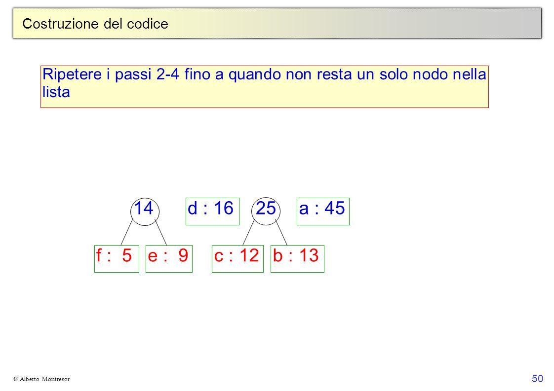 50 © Alberto Montresor Costruzione del codice Ripetere i passi 2-4 fino a quando non resta un solo nodo nella lista f : 5e : 9c : 12b : 13 d : 16a : 45 14 25