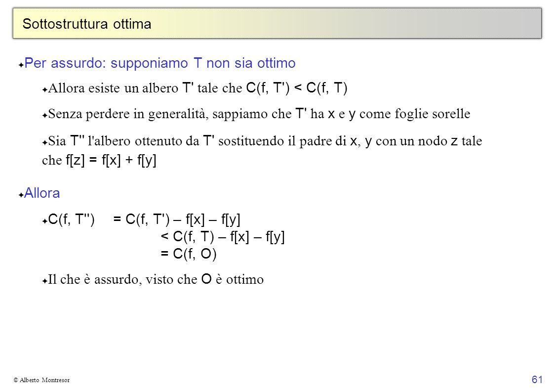61 © Alberto Montresor Sottostruttura ottima Per assurdo: supponiamo T non sia ottimo Allora esiste un albero T tale che C(f, T ) < C(f, T) Senza perdere in generalità, sappiamo che T ha x e y come foglie sorelle Sia T l albero ottenuto da T sostituendo il padre di x, y con un nodo z tale che f[z] = f[x] + f[y] Allora C(f, T )= C(f, T ) – f[x] – f[y] < C(f, T) – f[x] – f[y] = C(f, O) Il che è assurdo, visto che O è ottimo