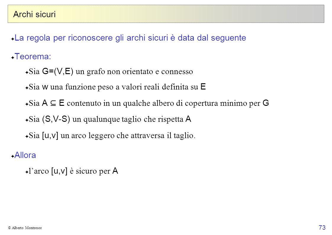 73 © Alberto Montresor Archi sicuri La regola per riconoscere gli archi sicuri è data dal seguente Teorema: Sia G=(V,E) un grafo non orientato e conne