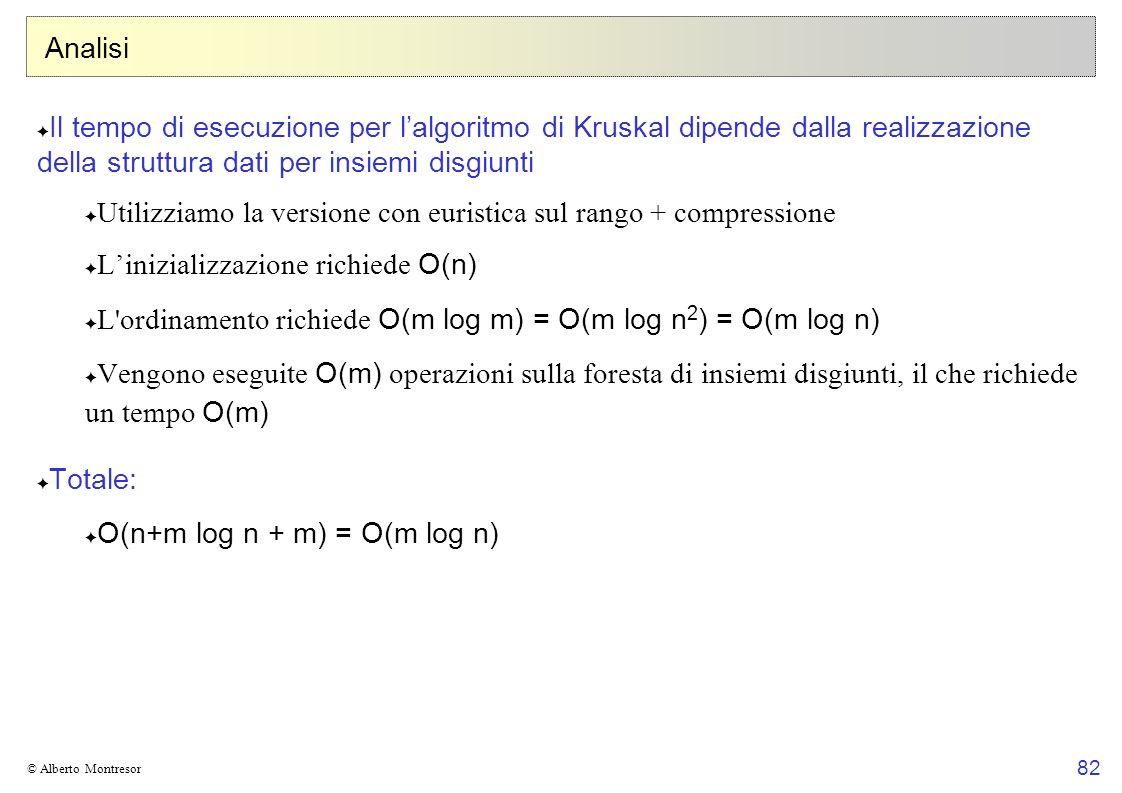 82 © Alberto Montresor Analisi Il tempo di esecuzione per lalgoritmo di Kruskal dipende dalla realizzazione della struttura dati per insiemi disgiunti Utilizziamo la versione con euristica sul rango + compressione Linizializzazione richiede O(n) L ordinamento richiede O(m log m) = O(m log n 2 ) = O(m log n) Vengono eseguite O(m) operazioni sulla foresta di insiemi disgiunti, il che richiede un tempo O(m) Totale: O(n+m log n + m) = O(m log n)