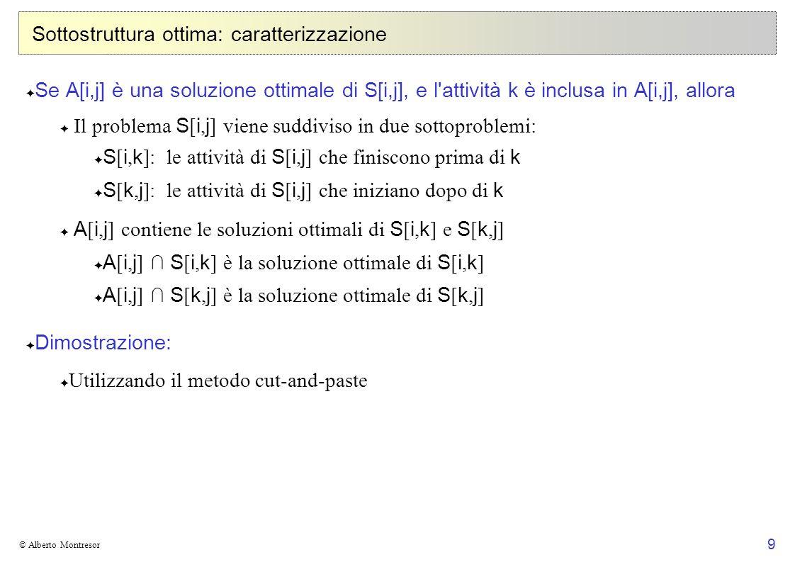 9 © Alberto Montresor Sottostruttura ottima: caratterizzazione Se A[i,j] è una soluzione ottimale di S[i,j], e l'attività k è inclusa in A[i,j], allor