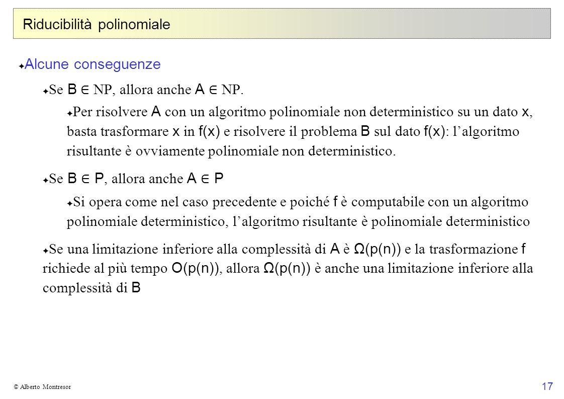 17 © Alberto Montresor Riducibilità polinomiale Alcune conseguenze Se B NP, allora anche A NP. Per risolvere A con un algoritmo polinomiale non determ