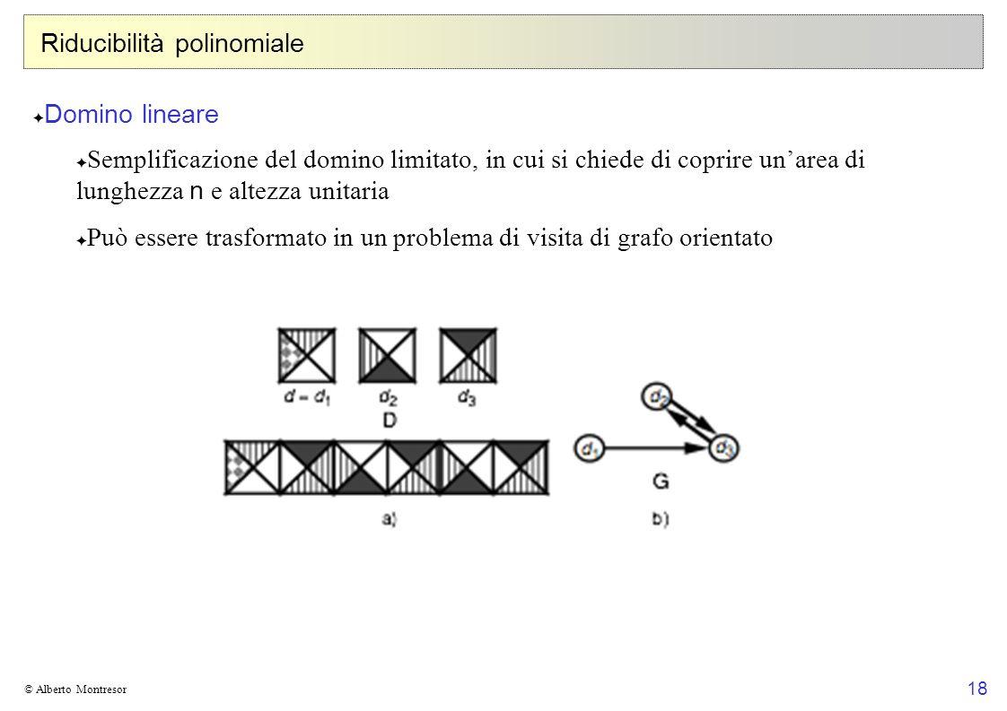 18 © Alberto Montresor Riducibilità polinomiale Domino lineare Semplificazione del domino limitato, in cui si chiede di coprire unarea di lunghezza n