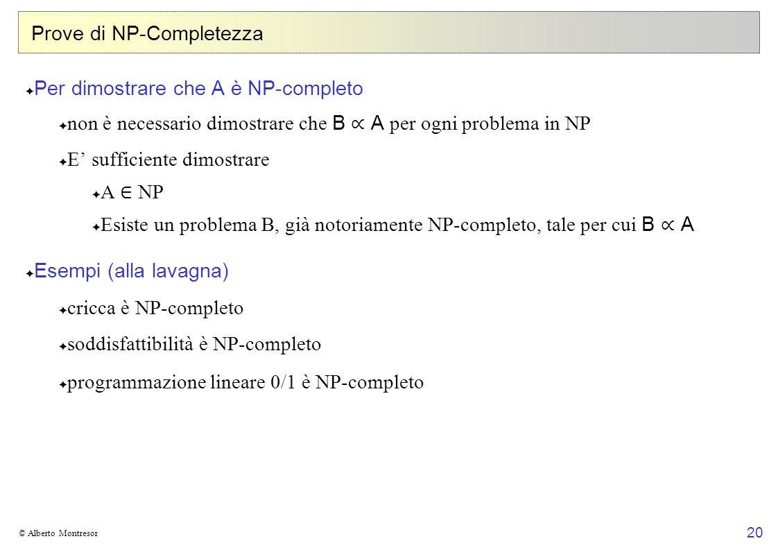 20 © Alberto Montresor Prove di NP-Completezza Per dimostrare che A è NP-completo non è necessario dimostrare che B A per ogni problema in NP E suffic