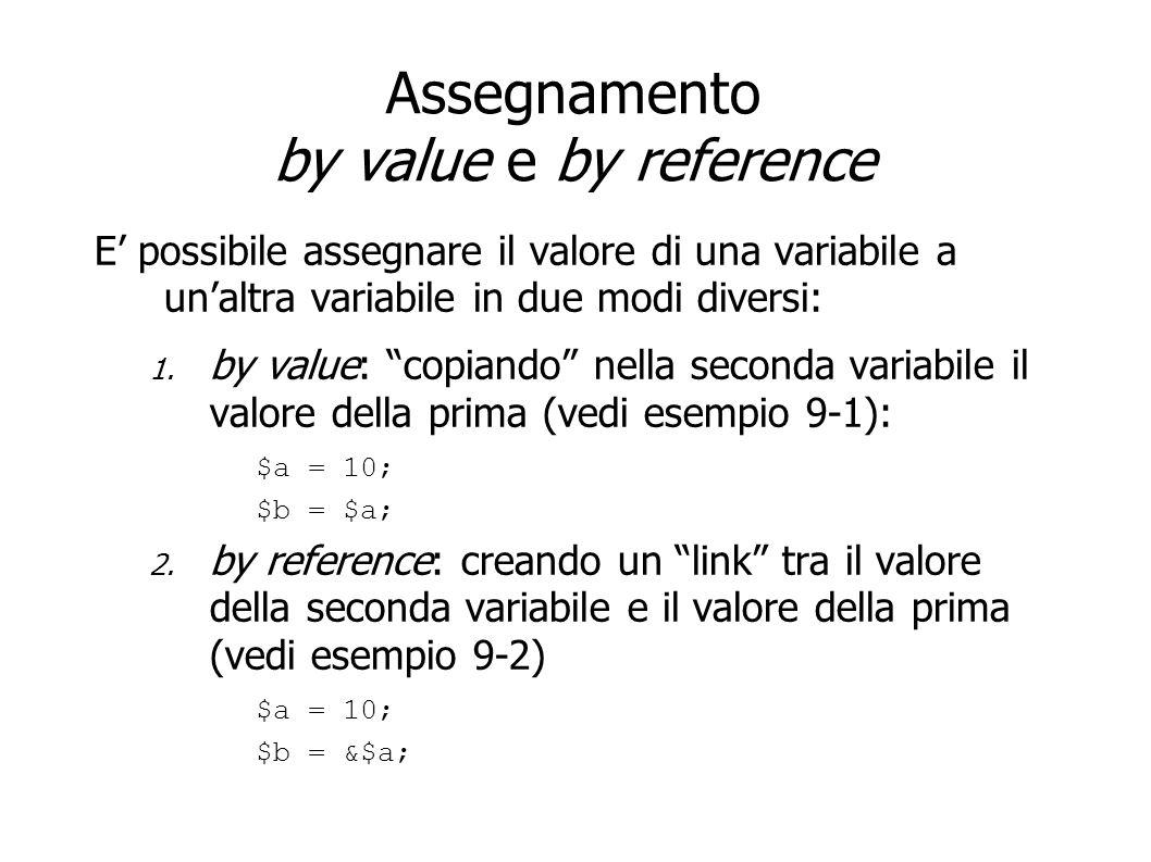 Assegnamento by value e by reference E possibile assegnare il valore di una variabile a unaltra variabile in due modi diversi: 1. by value: copiando n
