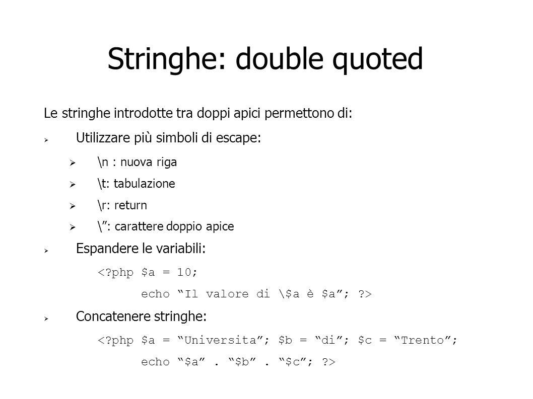Stringhe: double quoted Le stringhe introdotte tra doppi apici permettono di: Utilizzare più simboli di escape: \n : nuova riga \t: tabulazione \r: re
